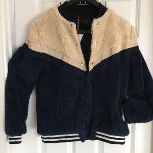 Design Lab Boyfriend varsity faux shearling jacket